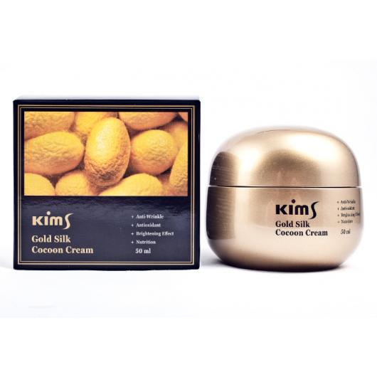 Крем антивозрастной для лица с протеинами кокона шелкопряда Kims Gold Silk Cocoon Cream