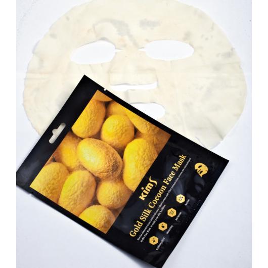 Антивозрастная маска для лица с протеинами кокона шелкопряда Kims Gold Silk Cocoon Face Mask (1 шт.)