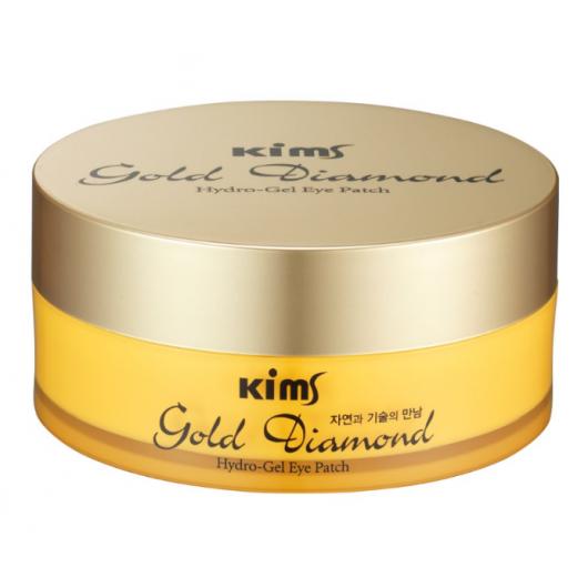 Гидрогелевые золотые патчи Kims Gold Diamond Hydro-Gel Eye Patch (60 шт. в баночке, размер L)